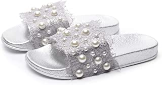Summer Women's Slippers Non-Slip Open Toe with Soft and Thick (Color : Silver, Size : 38)