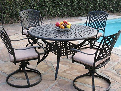 CBM Patio Kawaii Collection Cast Aluminum Outdoor Patio Furniture 5 Piece Dining Set MLV120T-4S CBM1290