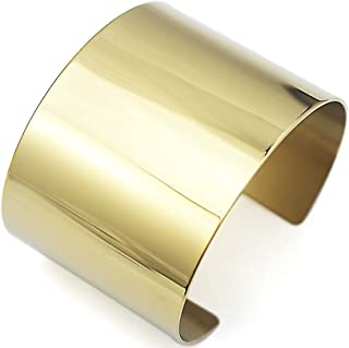 COUYA Stainless Steel Smooth Polished Open Cuff Bangle Bracelet for Women Lady Girls Gift