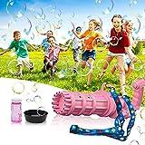 luximi Bubble Machine Gatling Bubble Gun, 6000+ Bubbles Per Minute Bubbles for Kids, 15-Hole Huge Bubble Machine Gun with Adjustable Strap, Outdoor Toys Bubble Gun Machine for Kids, 16x5.5 Inch Pink