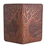 Oberon Design Schutzhülle für Scheckheft, geprägt, aus echtem Leder, 8,9 x 16,5 cm, Sattelfarbe, hergestellt in den USA