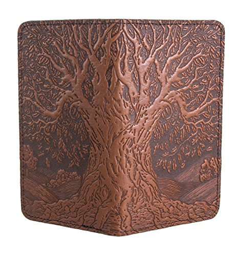 Oberon Design Tree of Life Embossed Genuine Leather Checkbook Cover, 3.5x6.5 Inches, Saddle Color, Made in the USA