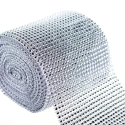 PMLAND Silver Diamond 24-Row Rhinestone Mesh Ribbon Wrap –Bulk Package 4.75 Inch Wide x 10 Yard (30 Feet) Long