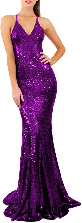 BessWedding Womens Sequin Mermaid Prom Dress 2019 Formal Evening Gown LFB185