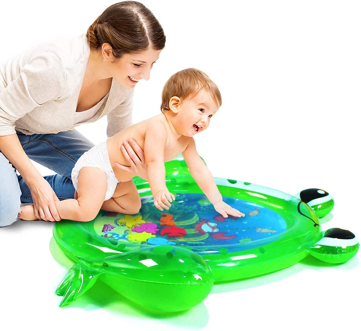 SUNSHINE-MALL Inflatable Frog Tummy Time for Baby, Premium Water mat Infants and Toddlers is The Perfect Fun time Play Activity Center Your Baby's Stimulation Growth(93x77cm)