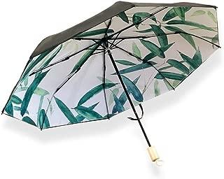 AUWANGAOFEI Handle Plain Bamboo Umbrella, Simple and Fresh Sunscreen UV Double Umbrella (Color : Black)