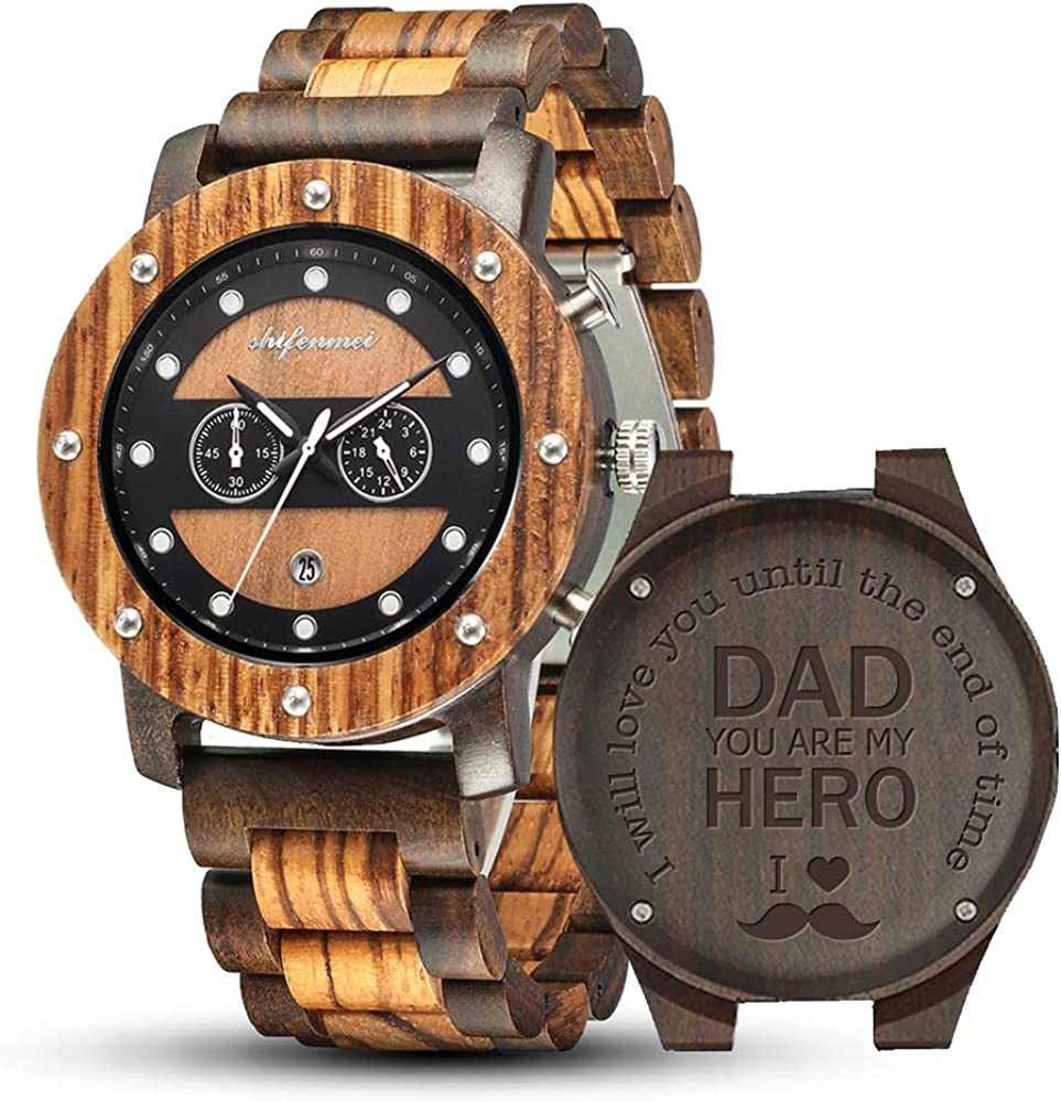 Wooden Watches Mens shifenmei S5564 Daily bargain sale Multifunction NEW before selling Wood
