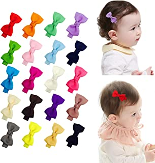 Ruyaa 2 Inch Tiny Hair Bows Clips Fully Lined for Baby Girls Fine Hair Infants 20pcs