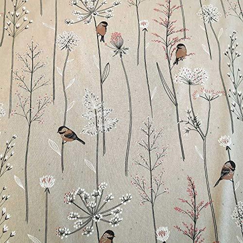 Stoff Meterware Baumwolle Natur Vögel braun Blumen Wiese Dekostoff pflegeleicht