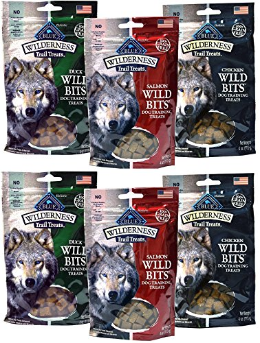 Blue Buffalo Wilderness Trail Treats Grain-Free Wild Bits Dog Treats - 3 Flavors 2 BAGS EACH FLAVOR (Salmon, Chicken, & Duck) - 4 Ounces Each (6 Total Pouches) - MADE IN USA by Blue