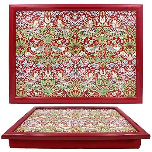 Stylish William Morris Strawberry Thief Pattern Cushioned Lap Tray - by Leonardo