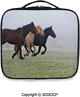 SCOCICI Fashion Personalized Travel Storage Bag A Few Racing Horses over the Grass in Foggy Day Late Autumn Strength Freedom for Daily Use, Ourdoor,Wedding etc(One Size)