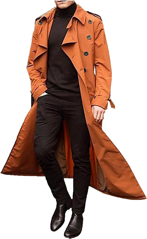 POHOK Men's Trench Coat Slim fit Double Breasted Belted Windbreaker Lapel Long Jacket Casual Windproof Overcoat