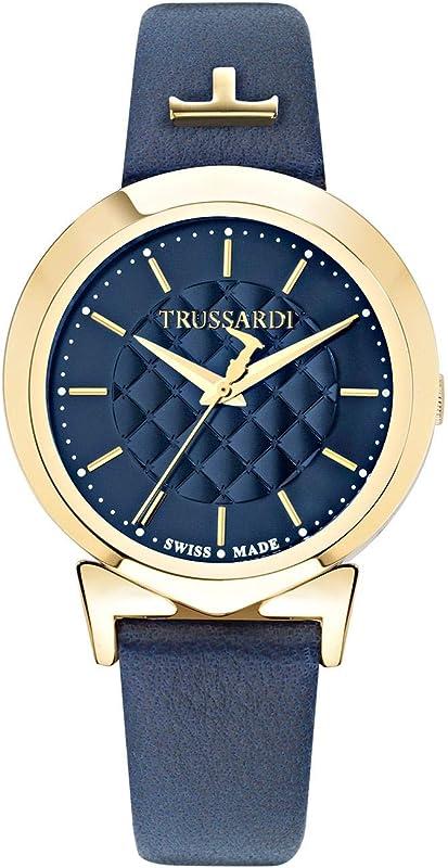 Trussardi orologio da donna cassa in acciaio e pvd oro e cinturino in pelle R2451105507