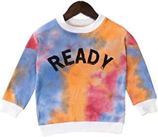 Fashion Kids Toddler Girl Boy Ready Print Tie Dye Sweatshirt Top Long Sleeve Pullover Knit Sweater Fall Winter Clothes