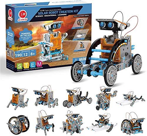CIRO Solar Roboter Kinder Konstruktionsspielzeug ab 8 Jahre, 12-IN-1 STEM Lernspielzeug Solarenergie, 190 Stücke Bausatz für Jungen und Mädchen