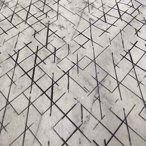 Kt KILOtela Tela de loneta Estampada Digital - Retal de 100 cm Largo x 280 cm Ancho   Mármol - Blanco, Negro ― 1 Metro