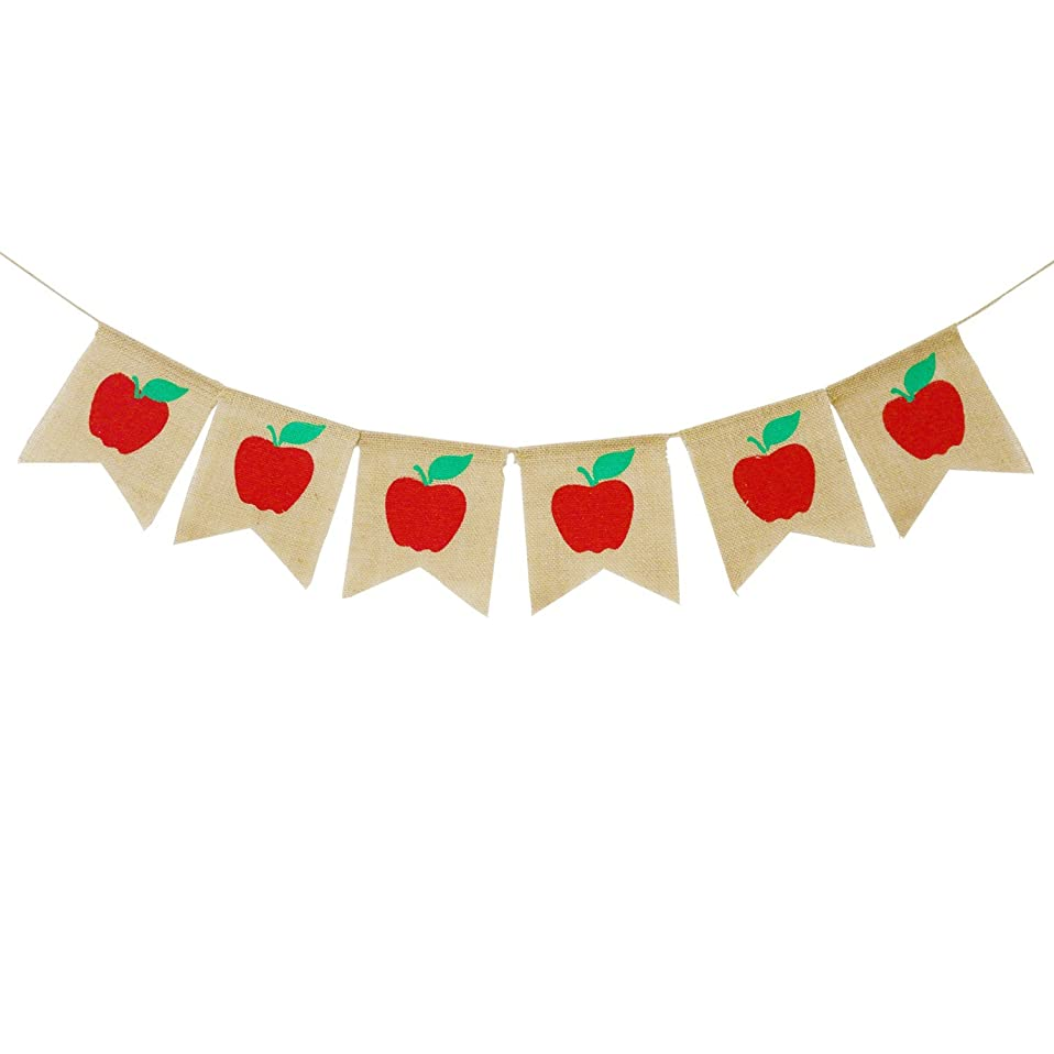 Apples Banner Burlap - Back To School Banner - Fall Banner - School Banner - Classroom Decor - Teacher Gifts - Apple Themed Party?Decorations