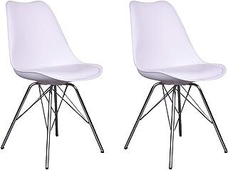 Nimara - Juego de 2 sillas de comedor en diseño escandinavo, sillas de comedor y de cocina, color blanco y negro