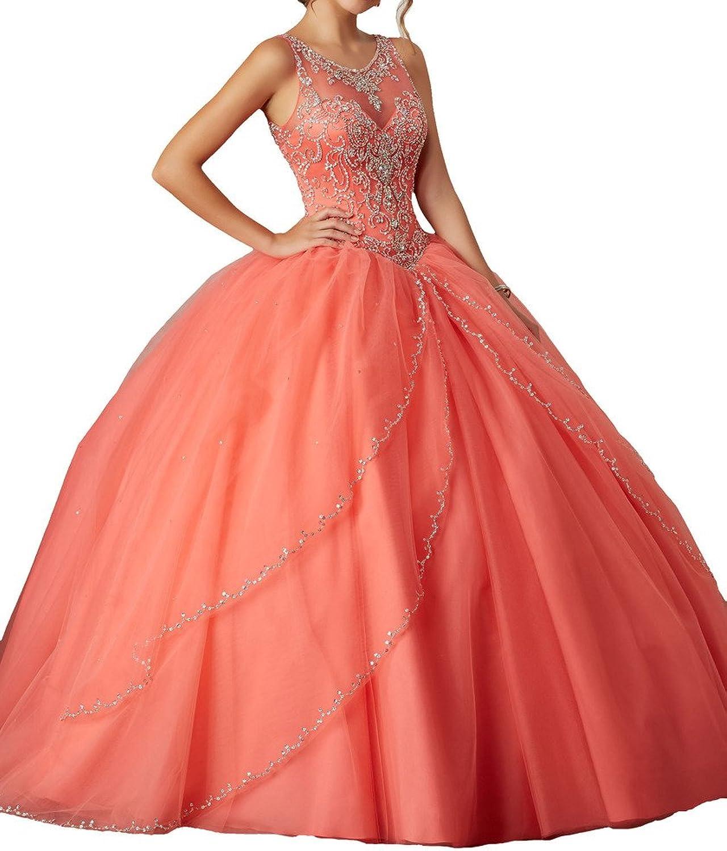 PuTao Women's Sheer Neck Crystal Prom Party Evening Quinceanera Dresses