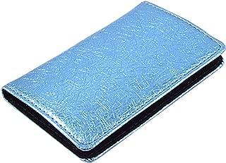 SourcingMap imitación de cuero Franela Guarnición Nombre del caso de tarjetas magnéticas - Azul/Negro