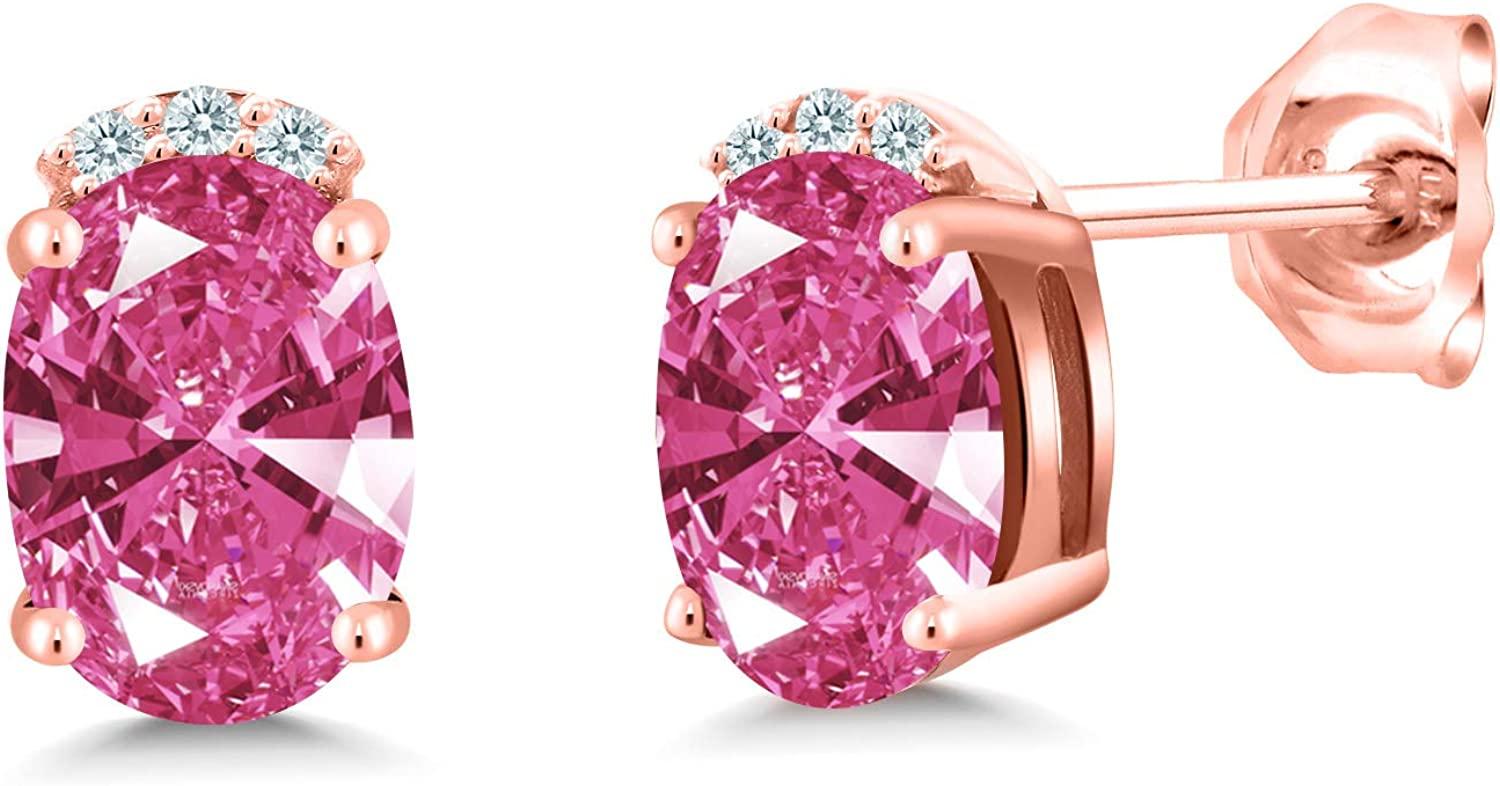 Boston Mall service Gem Stone King 18K Rose Gold Plated Silver S Earrings 7x5mm Stud