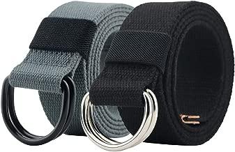 Canvas Belt, Web Belt for Men/Women with Metal Double D Ring Buckle 1 1/2