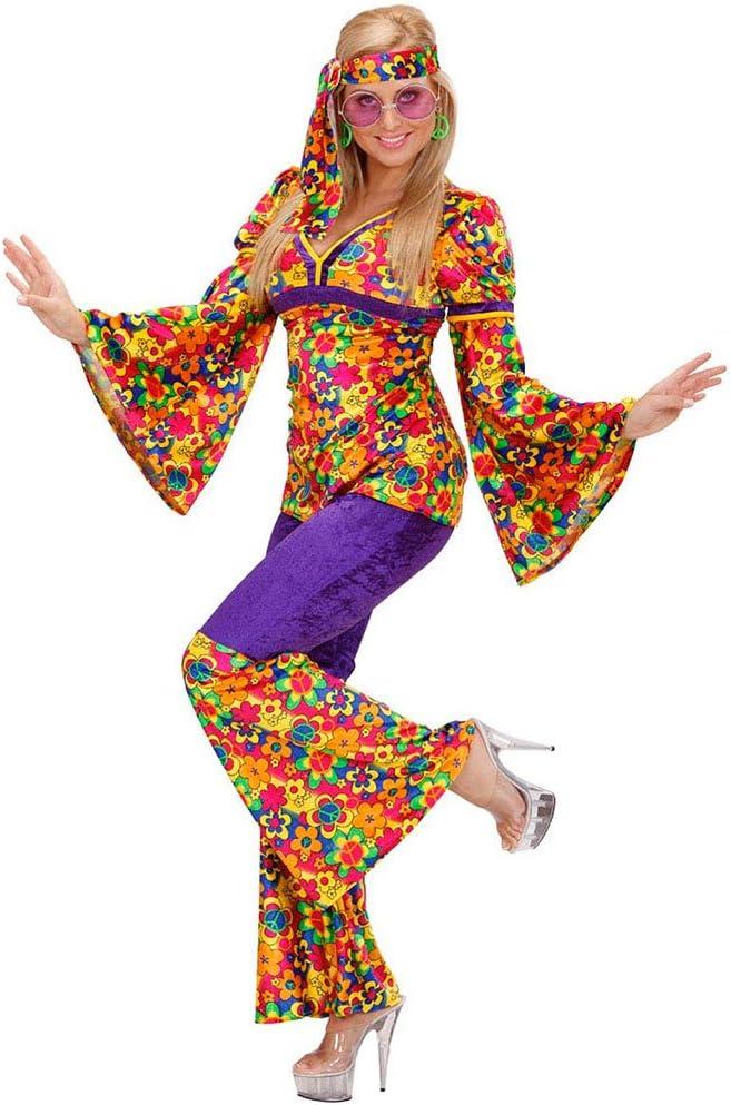 Damen Karneval Fasching Verkleidung Kostü Hippie Schlaghose lila für Damen NEU