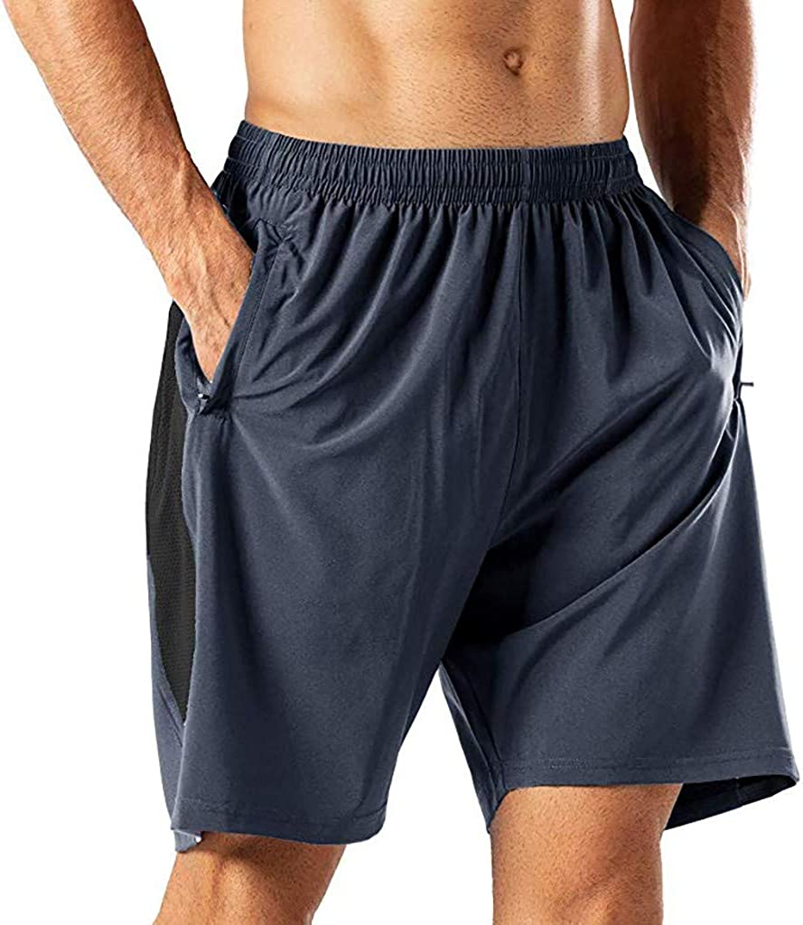 MODOQO Men's Fitness Shorts with Zipper Pockets, Solid Color Quick Drying Outdoor Summer Cargo Shorts
