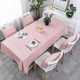 LIUJUAN Tischdecke Wachstischdecke Gartentischdecke Rosa Kleines Gitterrechteck Einfaches Haus-Pink_130 * 190 cm