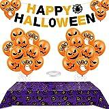 Aurasky Decoración de Fiesta de Halloween Mantel de y 24 Globos, Pancarta de Halloween, Mantel murciélago de Halloween,Halloween Decoracion Mesa para Casa, Mesa y Jardín