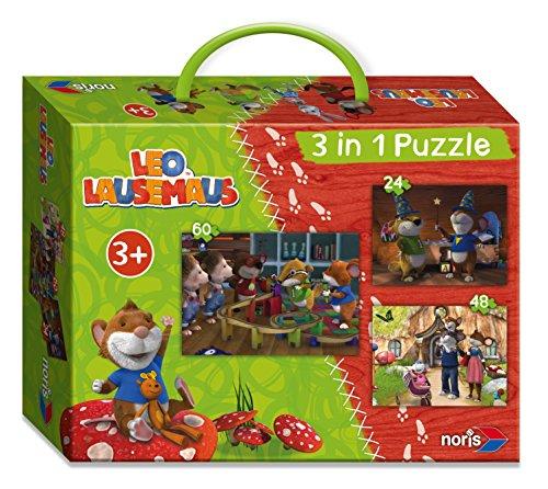 Noris Spiele 606031428 - Leo Lausemaus, 3-in-1 Puzzlespaß Koffer