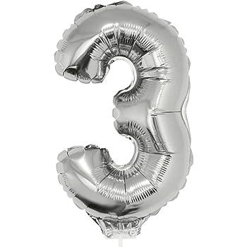 FOLIENBALLONS ZAHLEN STAB 36cm Silber Deko Ballons Luftballons Geburtstag