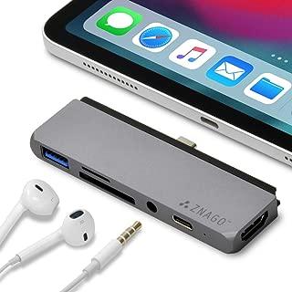 ZNAGO i (アイ) USB 3.1 Type-C 一体型マルチアダプター (スペースグレイ) iPad Pro 対応 3.5mmイヤホンジャック搭載 ケース付でも使えるスペーサー付属 4K HDMI Type C充電 SD/microSD カードリーダー USB 3.0