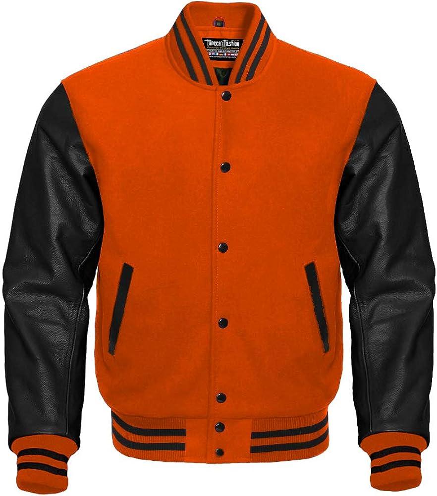 Varsity Orange and Black Letterman Jacket in Wool and Genuine Leather Sleeves