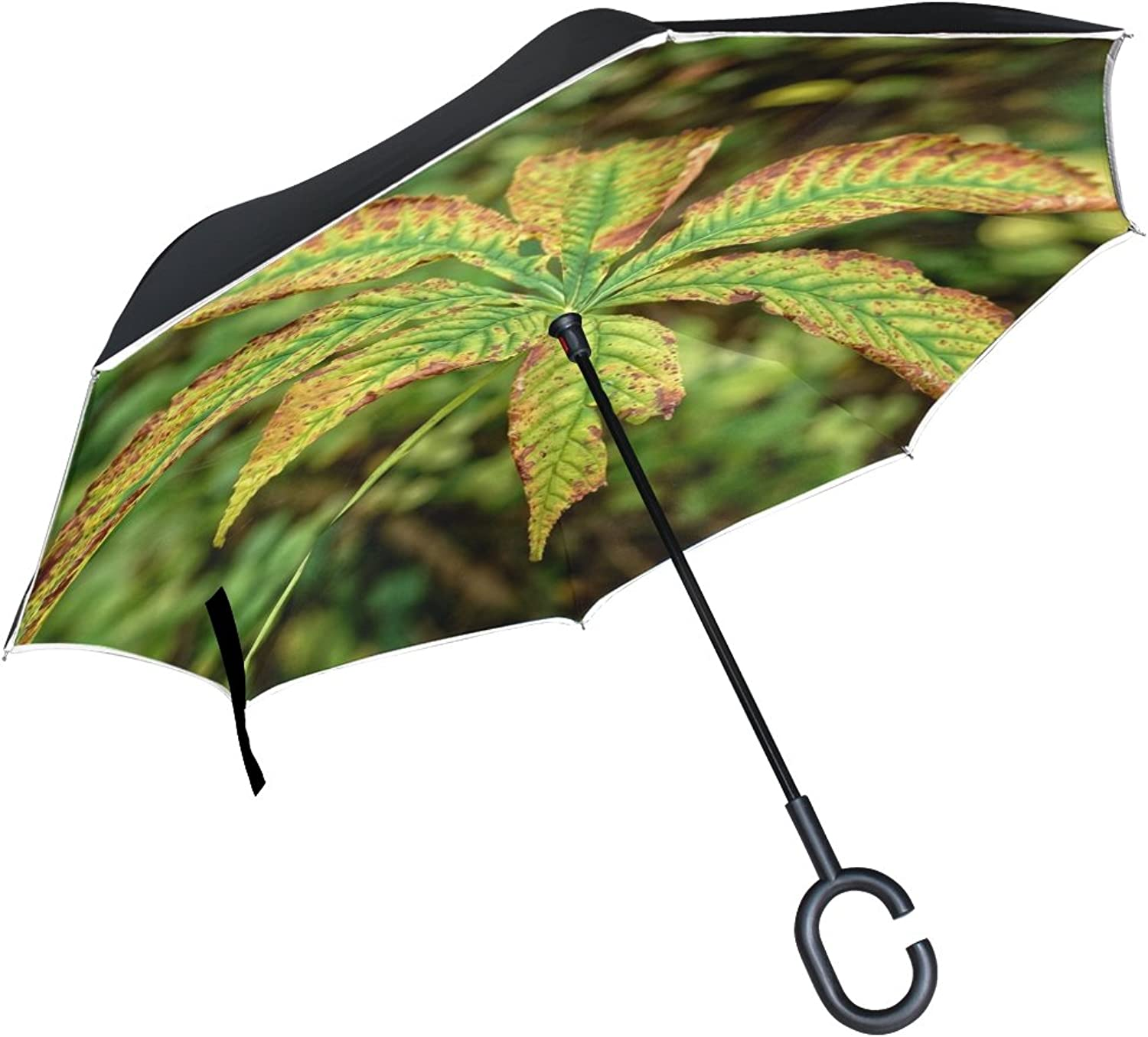 Double Layer Ingreened Autumn Leaf Leaf Autumn Leaves Fall Foliage Umbrellas Reverse Folding Umbrella Windproof Uv Predection Big Straight Umbrella for Car Rain Outdoor with CShaped Handle