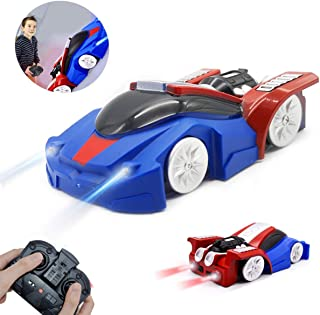 LAFALA Remote Control Car for Kids Toys Rechargeable Dual Mode 360° Rotating Stunt Wall Climbing RC Stunt Cars with Remote Control LED Head Gravity-Defying Vehicle Girl and Boy Gifts Blue