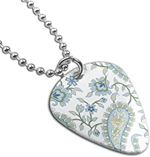 Sheery Green Paisley Pattern Dog Tag Pendant With Guitar Bassiform