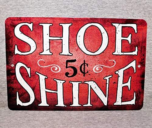 """Inconnu Unkown Plaque en Métal Shoe Shine garçon shoeshiner Bottes polisseuse réparation Rue Vendeur de cireur de Chaussures Vintage réplique en Aluminium 8"""" x 12"""""""