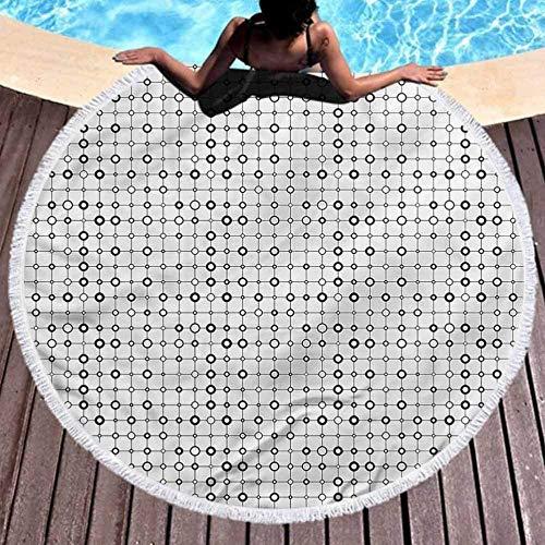 DWzinng Toalla de Playa Redonda,Elegante, Elegante y de Secado rápido.Manta Geométrica Toalla De Playa Monoch Moderna (Diámetro 150cm)