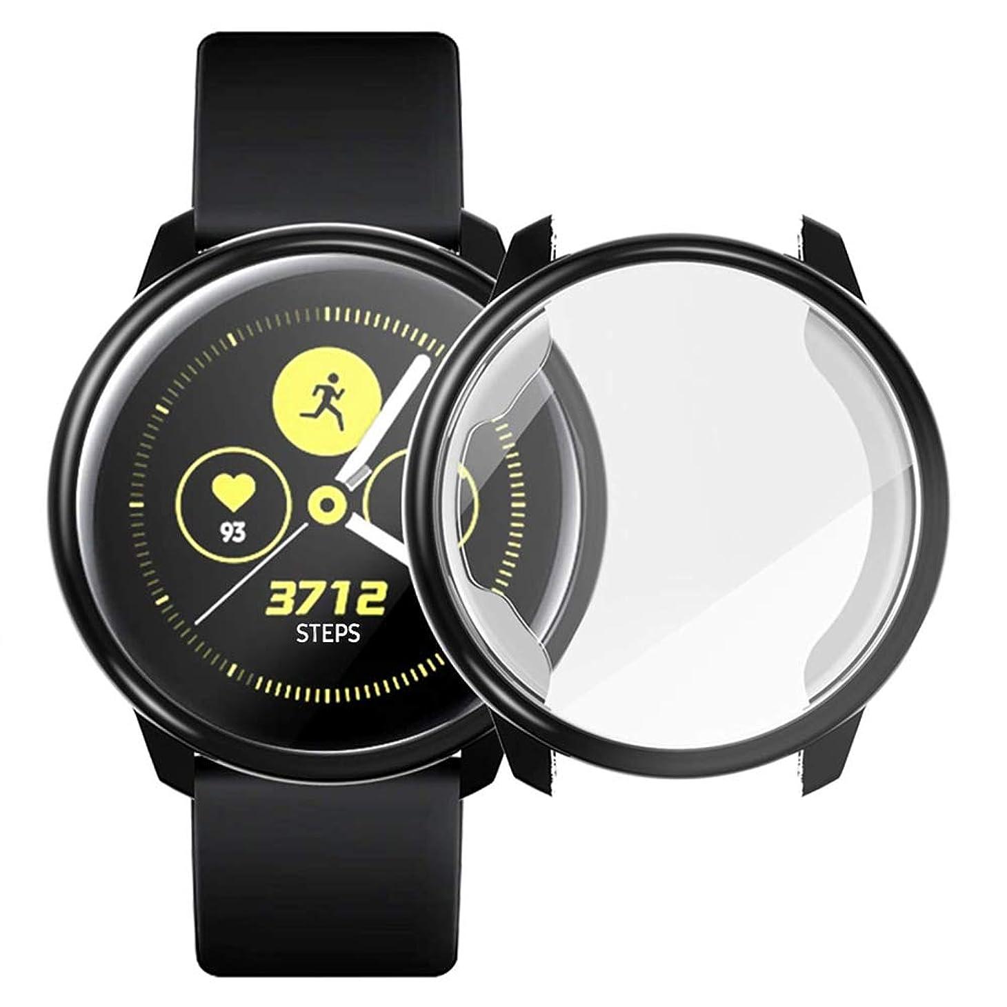 良い失態好奇心Miimall Samsung Galaxy Watch Active 40mm 専用ケース Samsung Galaxy Watch Activeカバー ソフト TPU材質 ぴったり対応 擦り傷防止 軽量 薄型 防衝撃 Samsung Galaxy Watch Active 全面保護ケース (ブラック)