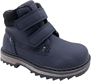 TZJS Kids' Hiking Boots for Boys Girls, Waterproof Outdoor Ankle Boots with Hook and Loop