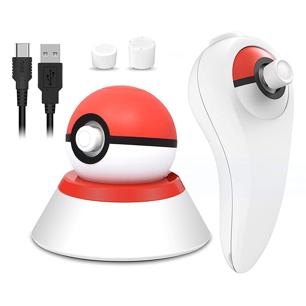 4 in 1 USB Charger Cable with Stand and Grip Holder for Nintendo Switch Poke Ball Plus Controller, Accessories Kit for Nintendo Pokémon Lets Go Pikachu Eevee Game Controller