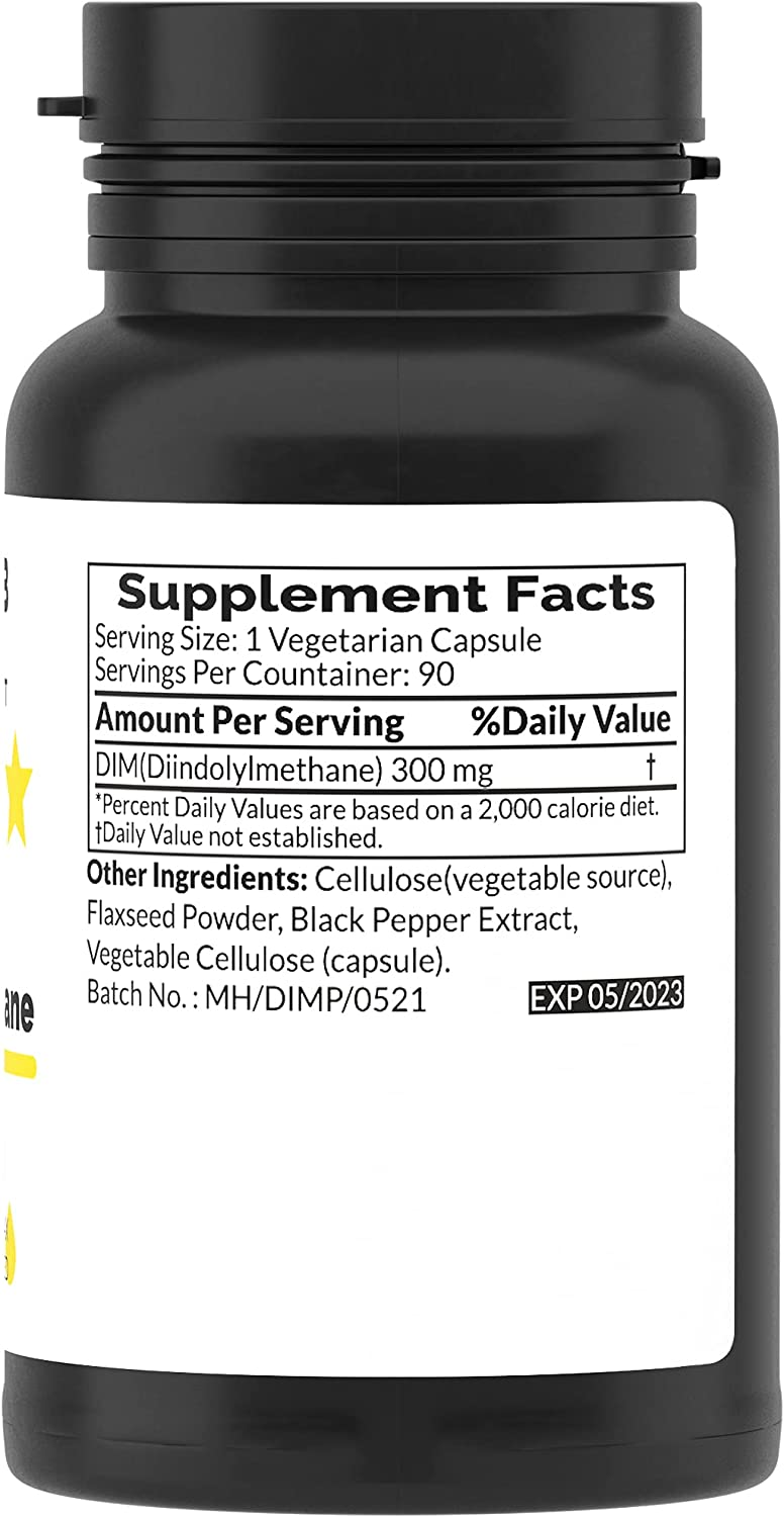 DIM Supplement 300 mg, 90 Day Supply - with Omega 3 - Extra Strength Detox Complex for Men and Women