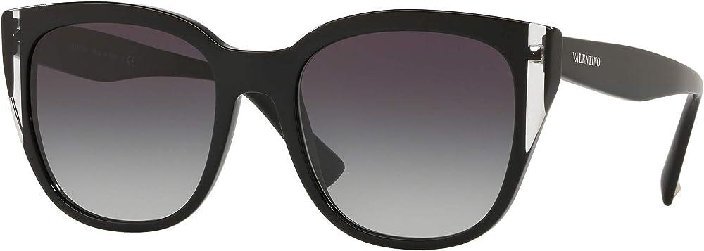 Valentino, occhiali da sole per donna, ovali, montatura in acetato leggero nero, lenti grigio sfumato VA4040 50018G 54