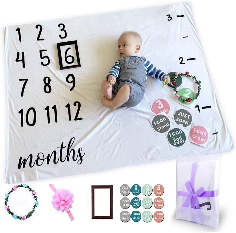 Baby Monthly Milestone Growth Chart Blanket   New Parents Gifts   Baby Gift  Baby Girl Gift   Baby Boy Gift  Included Baby Frame Wreath Headband ...