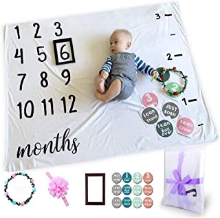 Baby Monthly Milestone Photo Blanket Newborn Infant Growth Chart for New Parents Baby Gifts,Baby Welcome Box with Photogra...