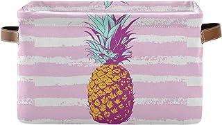 Lot de 2 paniers de rangement abstraites à rayures tropicales d'ananas - Panier à linge pliable - Avec poignées - Pour la ...