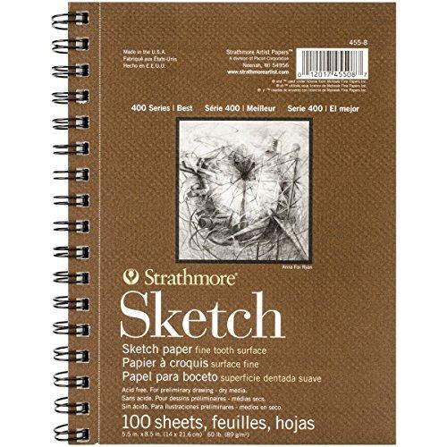 Pro-Art Strathmore 455800 Skizzen-Papier, Spiralblock, 14x 21,6cm, 100Blatt