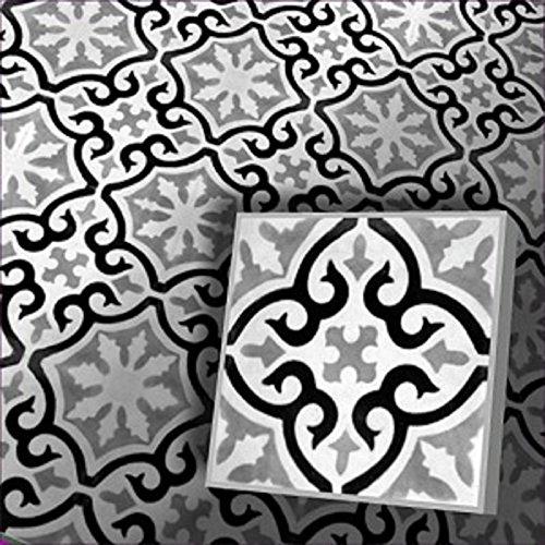 Zementfliesen Iraquia grau weiß schwarz Musterfliese